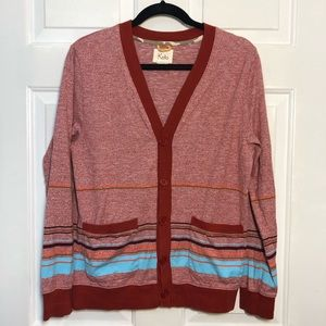 Koto Urban Outfitters Red Striped Cardigan Sweater